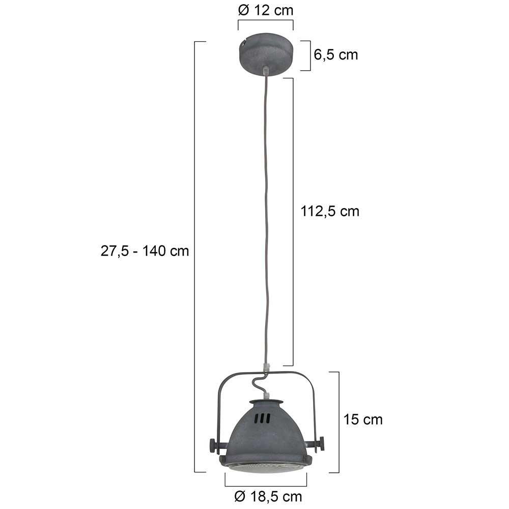 Industriele hanglamp 1-lichts beton MEXLITE - 1337GR - Industrie lamp - Industrie hanglamp- Mexlite- Mexlite- Industrieel - Trendy- Grijs  Betongrijs met whitewash- Metaal Glas