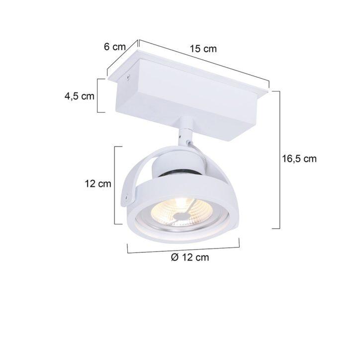 1-lichts LED MEXLITE - 1450W - Spots - Plafondlamp met 1 spot - Industriele spot - Mexlite - Industrieel - Stoer- Wit  - Metaal