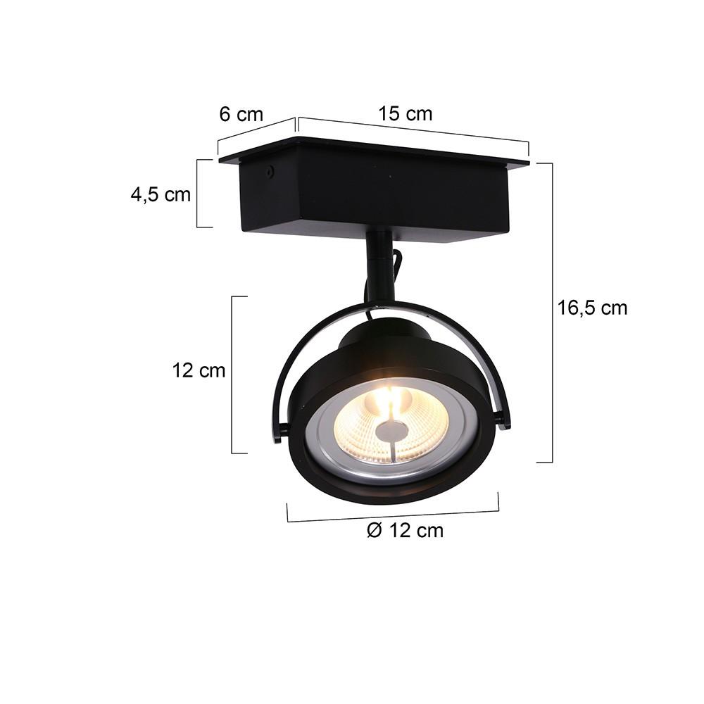 1-lichts LED MEXLITE - 1450ZW - Spots - Plafondlamp met 1 spot - Industriele spot - Mexlite - Industrieel - Stoer- Zwart  - Metaal