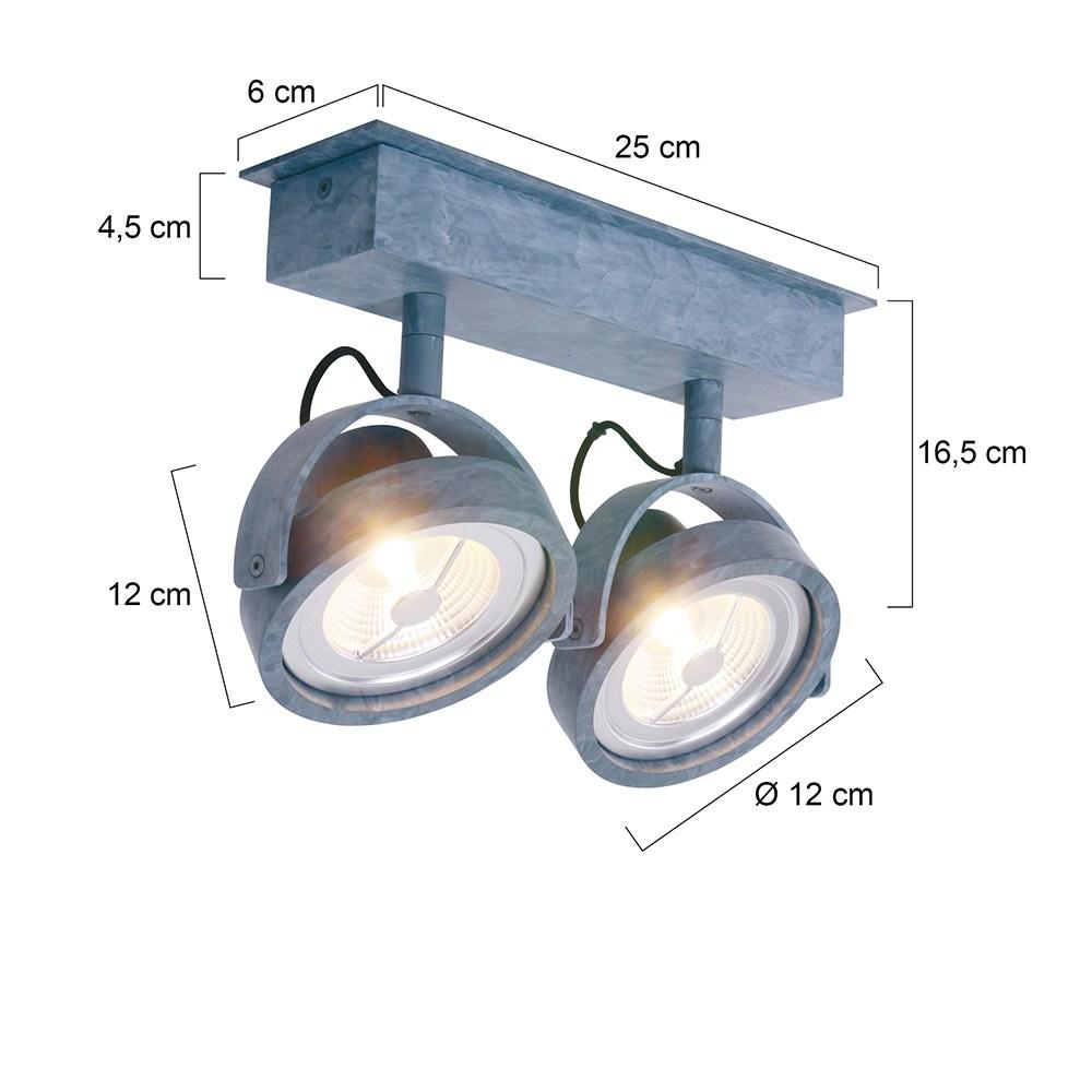 LED MEXLITE - 1451GR - Spots - Plafondlamp met 2 spots - Industriele spot - Mexlite - Industrieel - Stoer- Grijs  - Metaal
