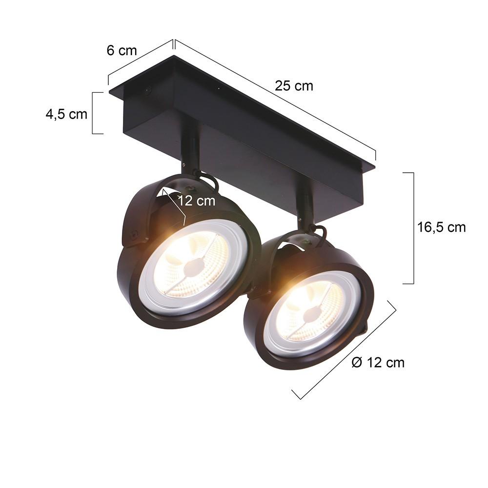 LED MEXLITE - 1451ZW - Spots - Plafondlamp met 2 spots - Industriele spot - Mexlite - Industrieel - Stoer- Zwart  - Metaal
