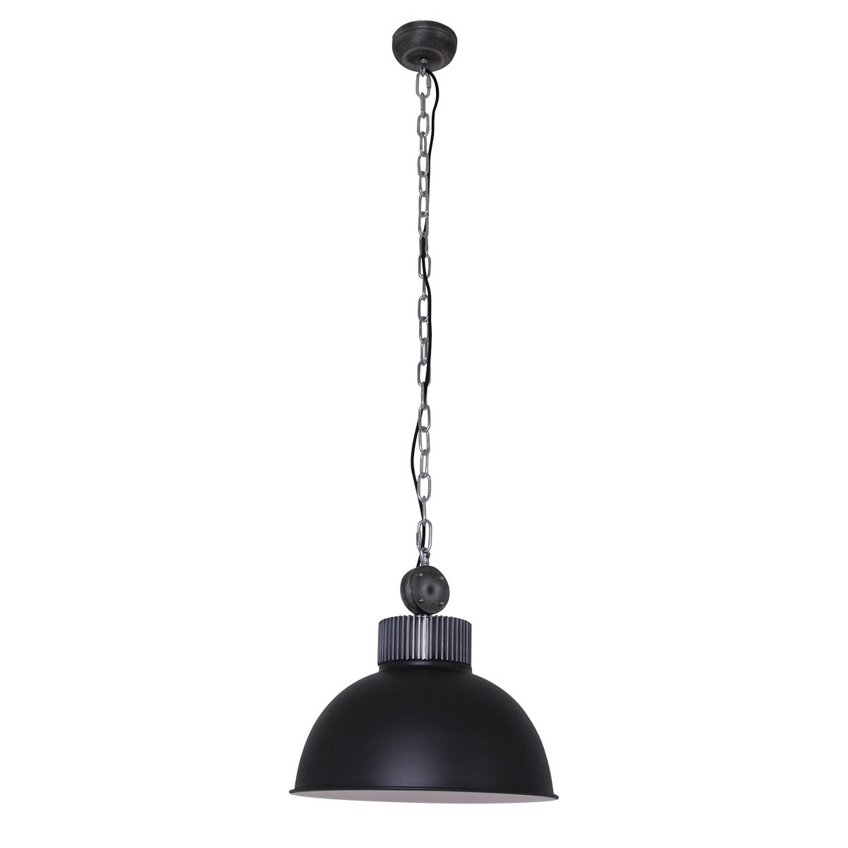 Industriele hanglamp 1-lichts E27 MEXLITE - 1455ZW - Industrie Hanglamp - Mexlite - Industrie lamp - Industrieel - Stoer- Zwart  - Metaal