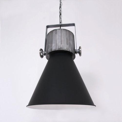 Industriele hanglamp 1-lichts E27 60W ANNE LIGHTING - 1457ZW - Industrie lamp - Industrie Hanglamp- Anne Lighting- hoody pendant- Industrieel - Stoer- Zwart  - Metaal