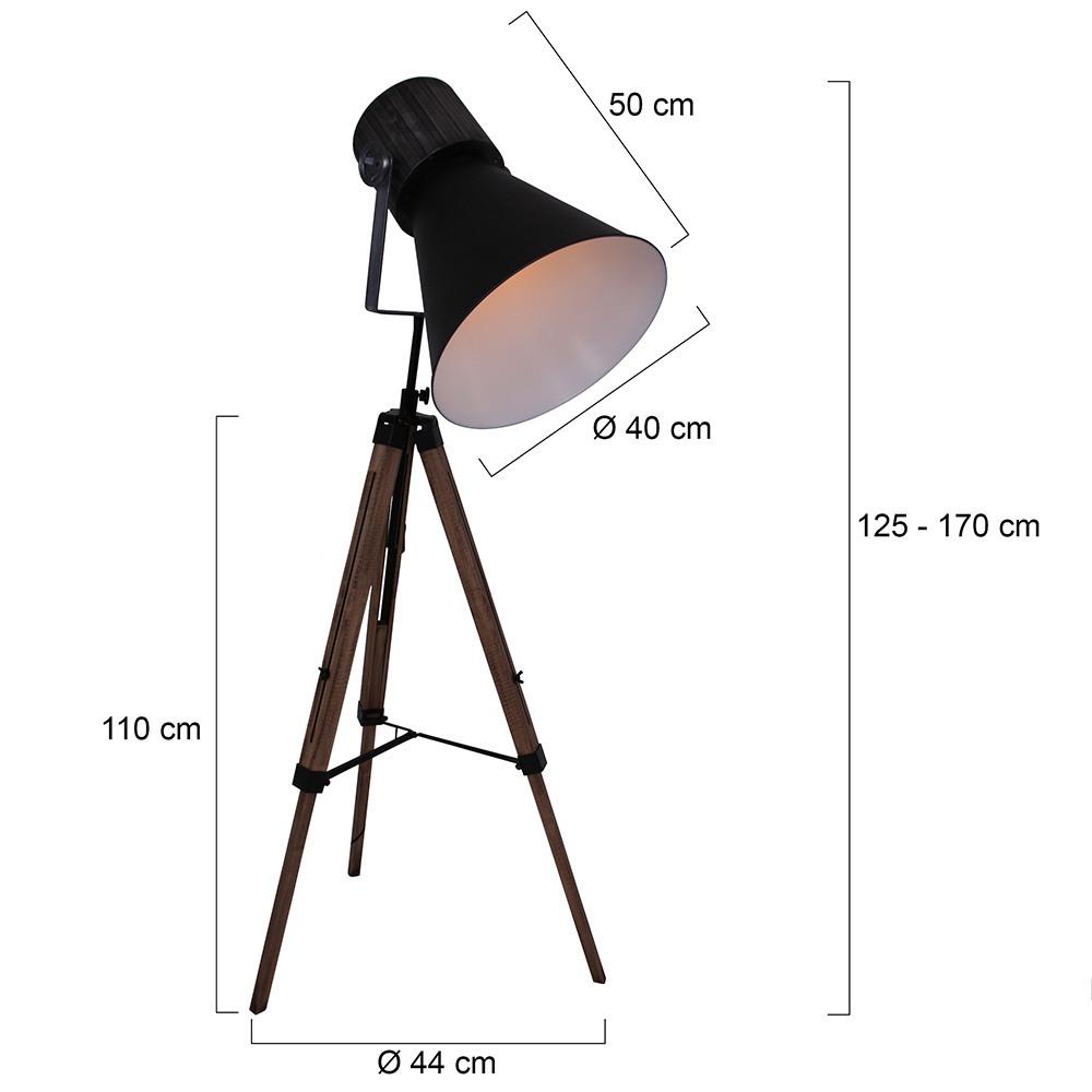 Industriele vloerlamp 1-lichts E27 ANNE LIGHTING - 1458ZW - Vloerlamp - Anne Lighting - hoody tripod - Industrieel - Stoer - Zwart Bruin - Metaal Hout