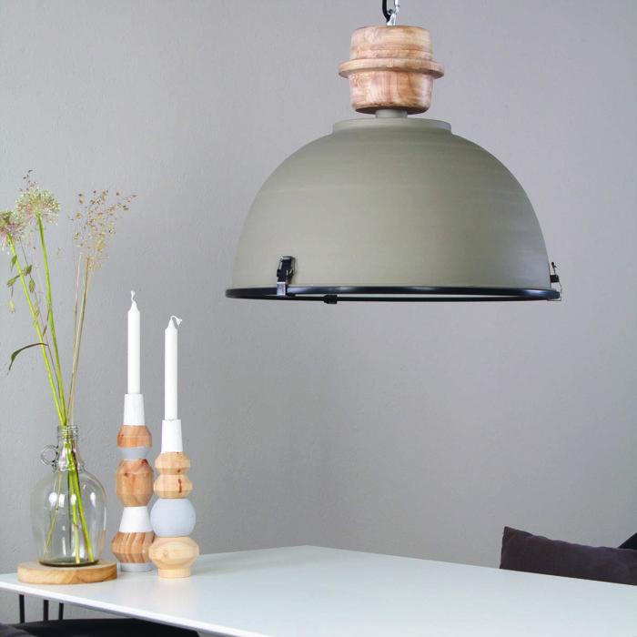 E27 STEINHAUER - 1459GR - Industrielamp - Industrie Hanglamp- Steinhauer- Bikkel- Industrieel - Stoer- Grijs  - Metaal Hout