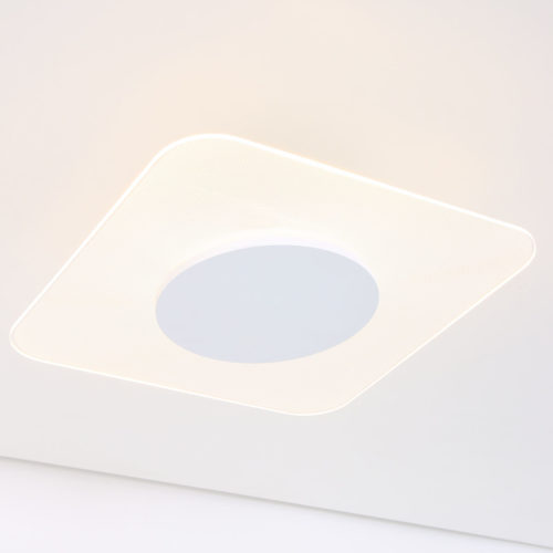 Plafondlamp- plafonnier- vierkant 42cm STEINHAUER - 1476W - Plafondlamp- Steinhauer- Ceiling and wall LED- Modern - Minimalistisch design- Wit  Transparant- Metaal Kunststof