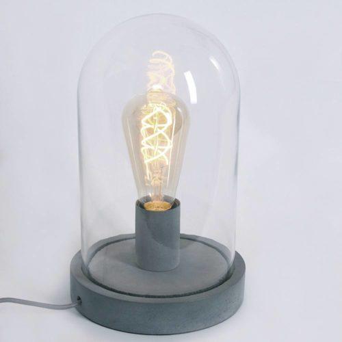 Tafellamp 1-lichts glas MEXLITE - 1483GR - Tafellamp- Mexlite- Mexlite- Industrieel - Trendy- Grijs  - Glas Hout