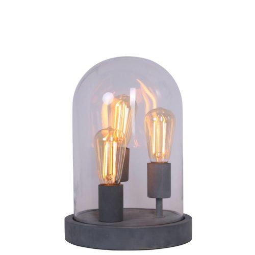 Tafellamp 3-lichts glas MEXLITE - 1484GR - Tafellamp- Mexlite- Mexlite- Industrieel - Trendy- Grijs  - Glas Hout