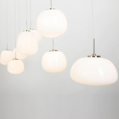 Hanglamp 8-l glas LED -7814st- STEINHAUER - 1491ST - Hanglamp- Steinhauer- Bollique- Design - Modern- Staal Wit Staal met Opal glas- Metaal Glas