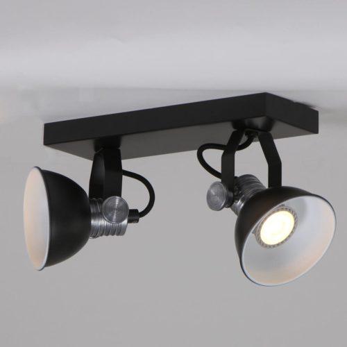 Industriële plafondlamp met twee verstelbare spots
