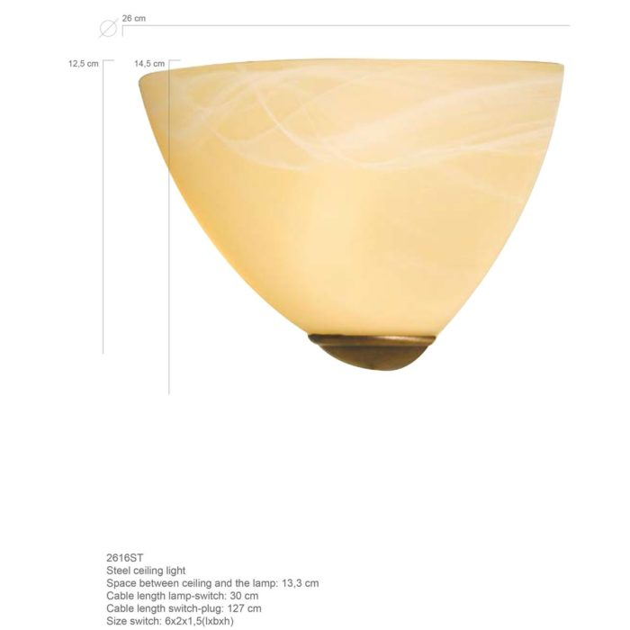 Wandlamp Glas STEINHAUER - 2616BR - Wandlamp- Steinhauer- Burgundy- Klassiek - Minimalistisch design- Brons Creme - Metaal Glas