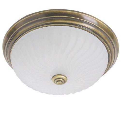 Plafondlamp- plafonnier- Glas STEINHAUER - 2779BR - Plafondlamp- Steinhauer- Ceiling and wall- Klassiek - Minimalistisch design- Brons Wit - Metaal Glas