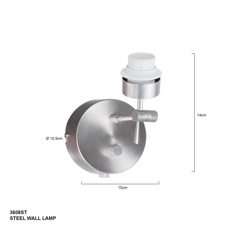 Wandlamp 1-lichts Knik -armatuur- STEINHAUER - 3608ST - Wandlamp- Steinhauer- Gramineus- Modern- Staal  - Metaal