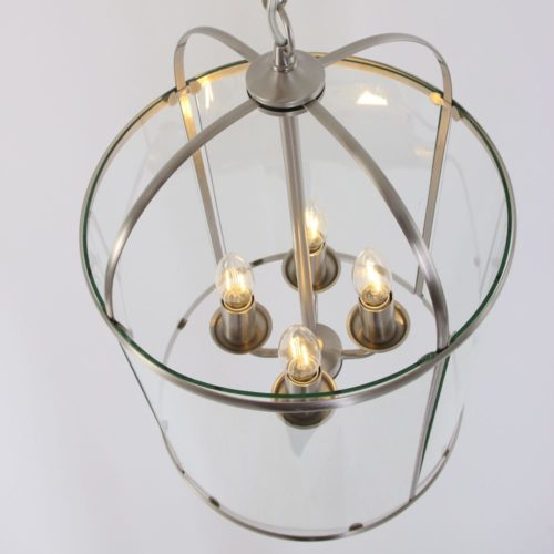 Hanglamp 4-l Glas STEINHAUER - 5972ST - Hanglamp- Steinhauer- Pimpernel- Klassiek- Staal Transparant - Metaal Glas