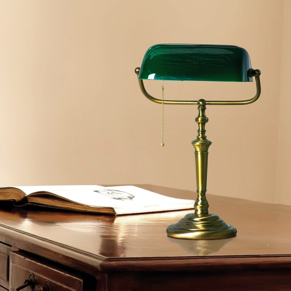 leeslamp 1-lichts Glas STEINHAUER - 6185BR - Tafellamp- Bureaulamp- Steinhauer- Ancilla- Klassiek- Brons Groen - Metaal Glas