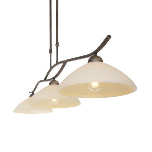 Hanglamp 3-lichts Glas STEINHAUER - 6837BR - Hanglamp- Steinhauer- Capri- Klassiek- Brons Creme - Metaal Glas