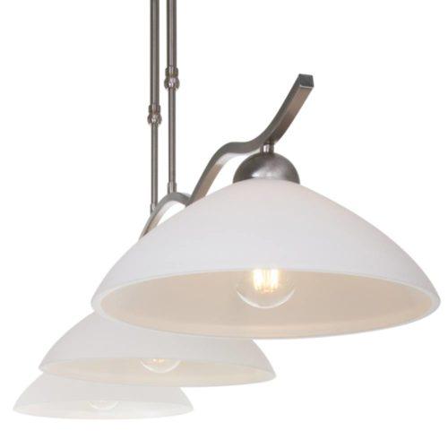 Hanglamp 3-lichts Glas STEINHAUER - 6837ST - Hanglamp- Steinhauer- Capri- Klassiek- Staal Wit - Metaal Glas