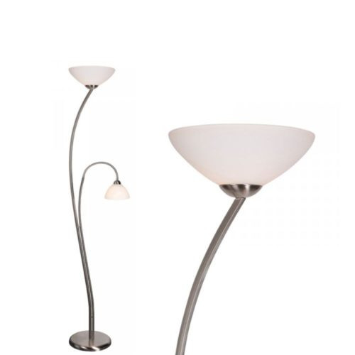 Vloerlamp 2-lichts Glas STEINHAUER - 6838ST - Vloerlamp- Steinhauer- Capri- Klassiek- Staal Wit - Metaal Glas