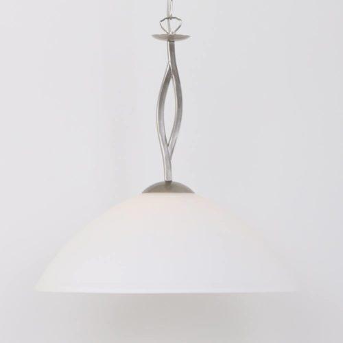Hanglamp 1-lichts Glas STEINHAUER - 6839ST - Hanglamp- Steinhauer- Capri- Klassiek- Staal Wit - Metaal Glas