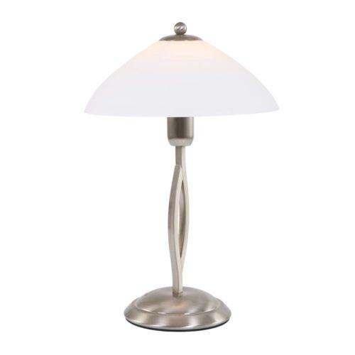 Tafellamp 1-lichts Glas STEINHAUER - 6842ST - Tafellamp- Steinhauer- Capri- Klassiek- Staal Wit - Metaal Glas