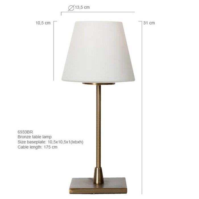 Tafellamp 1-lichts Glas STEINHAUER - 6933BR - Tafellamp- Steinhauer- Ancilla- Klassiek- Brons Wit - Metaal Glas