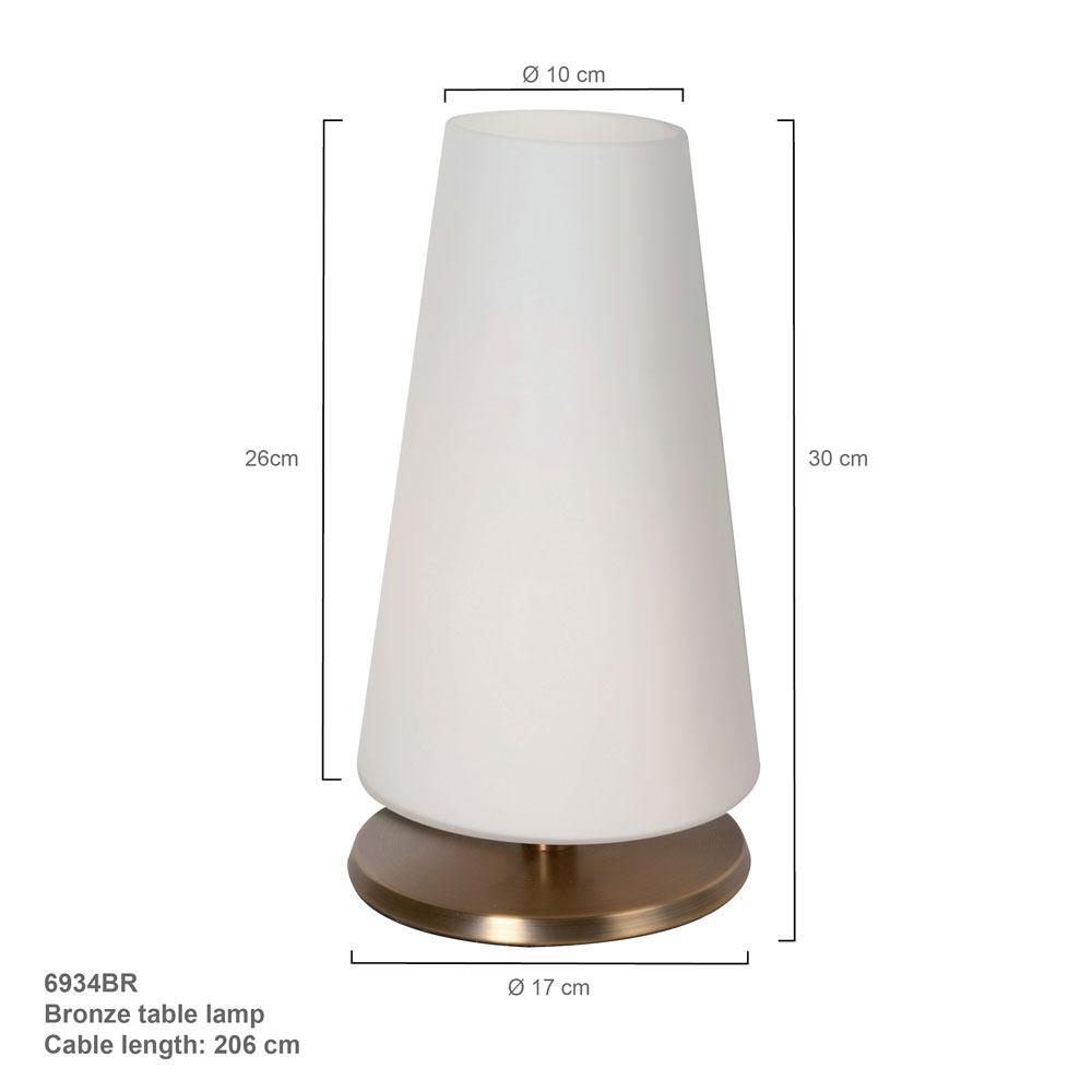 Tafellamp 1-lichts Glas STEINHAUER - 6934BR - Tafellamp- Steinhauer- Ancilla- Klassiek- Brons Wit - Metaal Glas