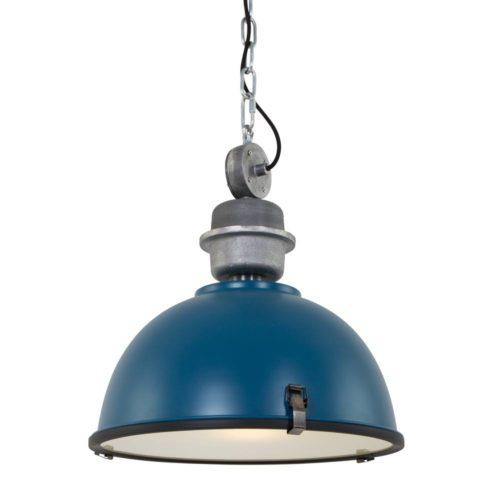 Industriele hanglamp 1-lichts Industrial STEINHAUER - 7586PE - Industrie lamp - Industrie Hanglamp - Steinhauer - Bikkel - Industrieel - Trendy - Blauw - Metaal Glas