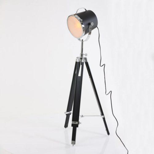 Industriële vloerlamp 1-lichts 3-poot -doos A+b- MEXLITE - 7613ZW - Vloerlamp - Industriele vloerlamp - Mexlite - Triangle - Industrieel - Trendy - Zwart  Zwart met chromen details - Metaal