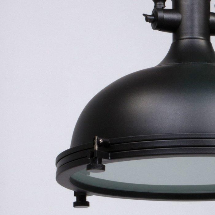 Industriële hanglamp 1-lichts Metaal MEXLITE - 7636ZW - Industrie lamp - Industriele Hanglamp - Mexlite - Alta - Industrieel - Trendy - Zwart Mat zwart - Metaal Glas