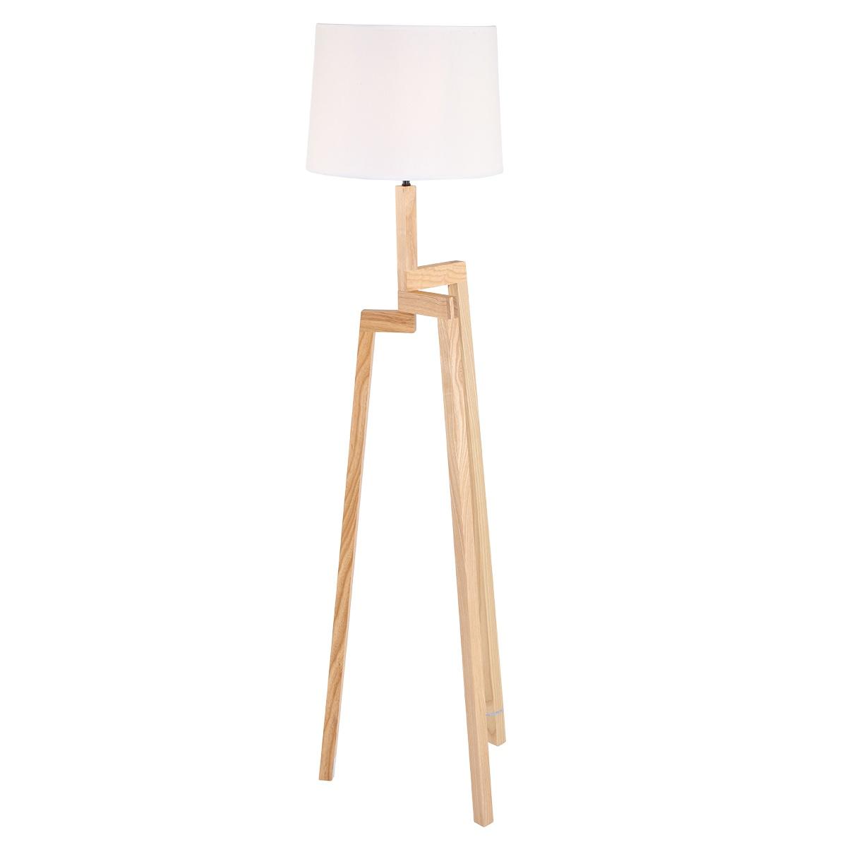 Vloerlamp 1-lichts 3-poot -doos A+B- MEXLITE - 7661BE - Vloerlamp- Mexlite- Bess- Modern - Trendy- Wit Bruin Witte kap- houten frame- zwart/wit snoer- Metaal Hout