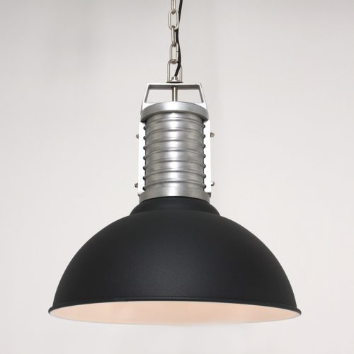 Industriele hanglamp 1-lichts Anne metaal ANNE LIGHTING - 7669ZW - Industriële hanglamp - Industrie lamp - Anne Lighting - Oncle Phillipe - Industrieel - Trendy - Zwart Mat zwart met staal - Metaal