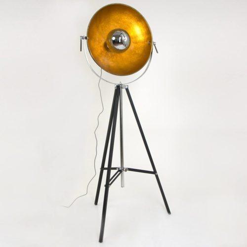 Vloerlamp 1-lichts bol MEXLITE - 7679ZW - Vloerlamp- Mexlite- Vidar- Industrieel - Trendy- Zwart Goud Zwarte vloerlamp met gouden binnenzijde- Metaal
