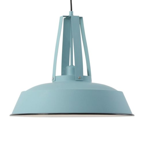 Industriele hanglamp 1-lichts metaal 43cm MEXLITE - 7704BL - Industriele hanglamp - Industrielamp - Mexlite - Luna - Industrieel - Trendy - Blauw ijsblauw - Metaal