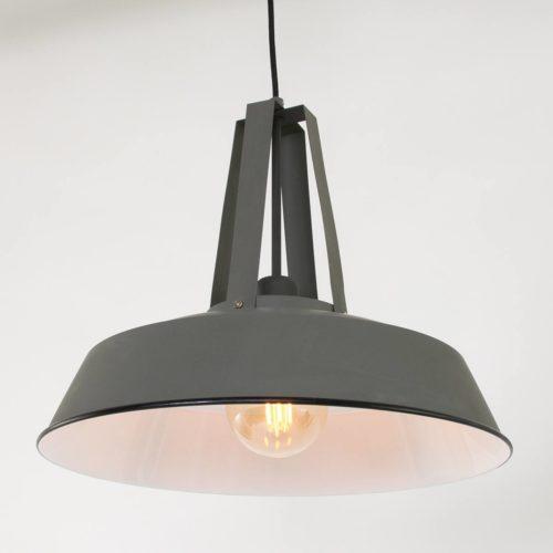 Industriele hanglamp 1-lichts metaal 43cm MEXLITE - 7704GR - Industriele hanglamp - Industrielamp - Mexlite - Luna - Industrieel - Trendy Grijs Grijs - Metaal