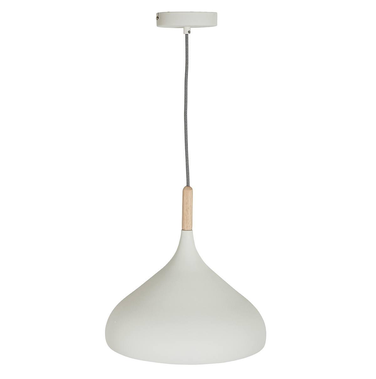 Hanglamp wit 30cm MEXLITE - 7730W - Hanglamp- Mexlite- Hella- Scandinavisch - Trendy- Wit  Wit met hout- Metaal Hout