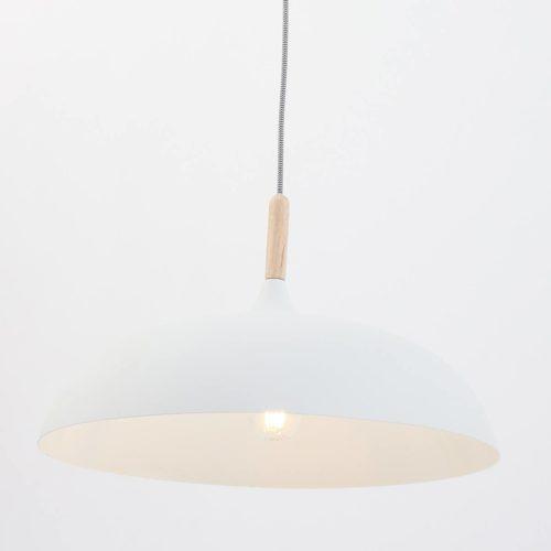 Hanglamp wit 45cm MEXLITE - 7731W - Hanglamp- Mexlite- Hella- Scandinavisch - Trendy- Wit  Wit met hout- Metaal Hout