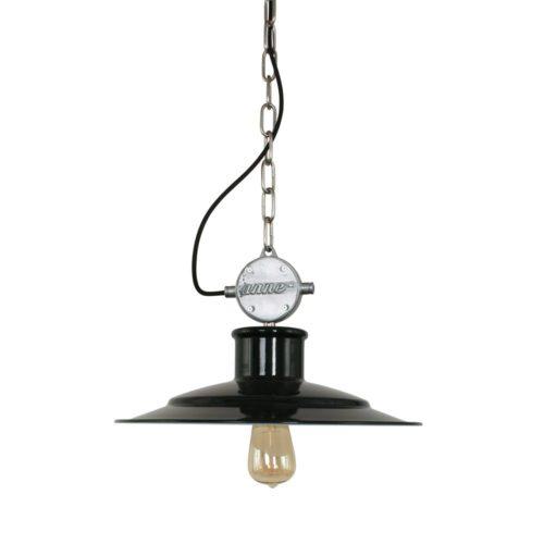 Industriele hanglamp 1-lichts ANNE LIGHTING - 7737ZW - Industrielamp - Industriële hanglamp - Anne Lighting - Millstone - Industrieel - Stoer - Zwart Staal Zwart met stalen blok - Metaal