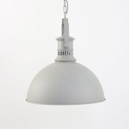 Industriële hanglamp 1-lichts metaal - grijs MEXLITE - 7741W - Industrielamp -  Industriele hanglamp - Mexlite - Camille - Landelijk - Stoer - Wit Verweerd beige - Metaal