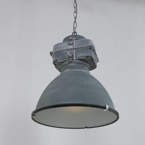 Industriele hanglamp industrie glas 48cm MEXLITE - 7779GR - Industrie lamp - Industriële hanglamp - Mexlite - Fender - Industrieel - Trendy - Grijs Grijs met witte afwerking - Metaal