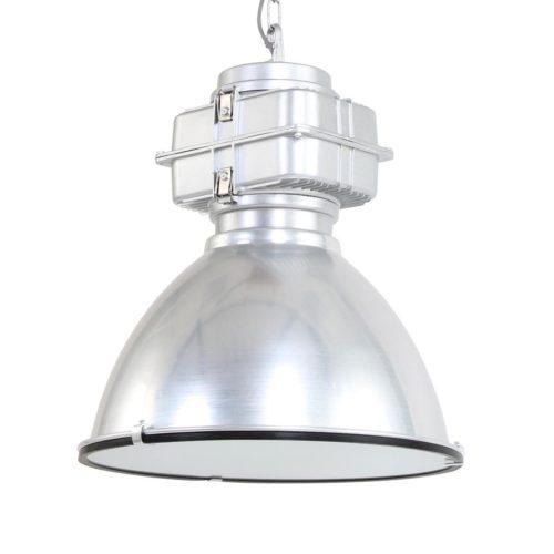 Industriele hanglamp industrie glas 48cm MEXLITE - 7779ST - Industriele hanglamp - Industrielamp - Mexlite - Fender - Industrieel - Trendy - Staal Staal - Metaal