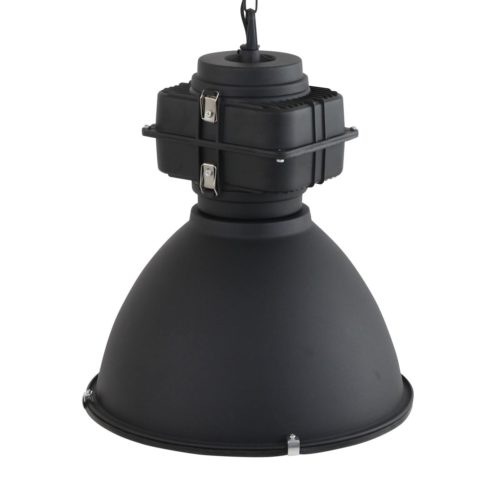 Industriele hanglamp industrie glas 48cm MEXLITE - 7779ZW - Industriële hanglamp - Industrielamp - Mexlite - Fender - Industrieel - Trendy - Zwart Mat zwart - Metaal