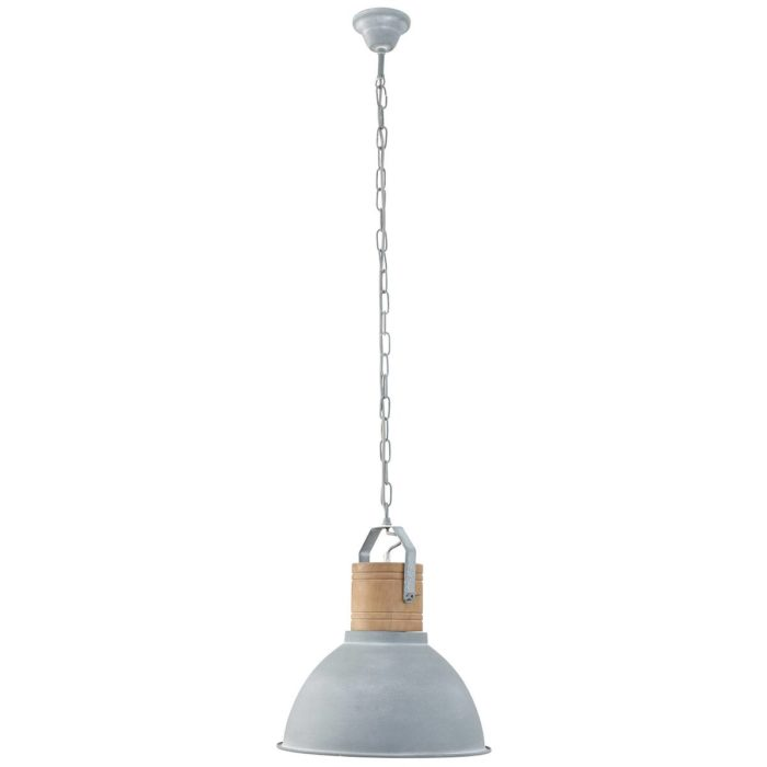 Industriele hanglamp grijs/hout MEXLITE - 7781GR - Industriele hanglamp - Industrie lamp - Mexlite - Denzel - Industrieel - Landelijk - Grijs Grijs met hout - Metaal Hout