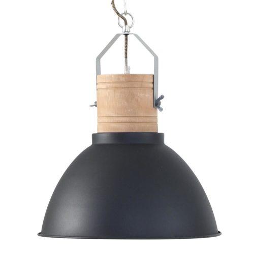 Industriele hanglamp zwart/hout MEXLITE - 7781ZW - Industriële hanglamp - Industrie lamp - Mexlite - Denzel - Industrieel - Scandinavisch - Zwart Zwart met hout - Metaal Hout