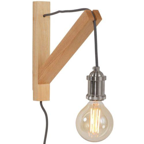 Industriële wandlamp 1-lichts -armatuur- MEXLITE - 7787BE - Wandlamp - Mexlite - Duco - Scandinavisch - Industrieel - Bruin  Beukenhout - Hout