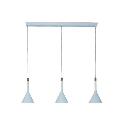 Hanglamp 3-lichts trechter STEINHAUER - 7807W - Hanglamp- Steinhauer- Cornucopia- Trendy - Design- Wit  Wit armatuur met houten accenten- Metaal