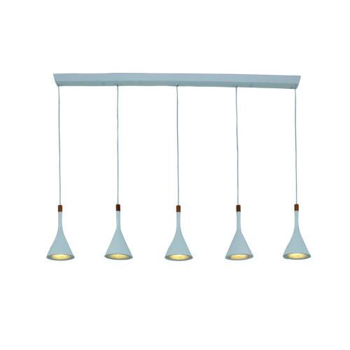 Hanglamp 5-l trechter STEINHAUER - 7808W - Hanglamp- Steinhauer- Cornucopia- Trendy - Design- Wit  Wit armatuur met houten accenten- Metaal