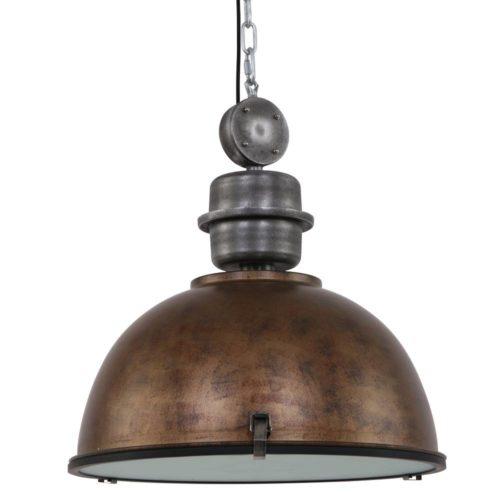 Industriele hanglamp 1-lichts 52cm STEINHAUER - 7834B - Industriële hanglamp - Industrielamp - Steinhauer - Bikkel XXL - Trendy - Industrieel - Bruin - Metaal Glas