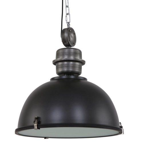 Industriele hanglamp 1-lichts 52cm STEINHAUER - 7834ZW - Industriële hanglamp - Industrielamp - Steinhauer - Bikkel XXL - Trendy - Industrieel - Zwart - Metaal Glas