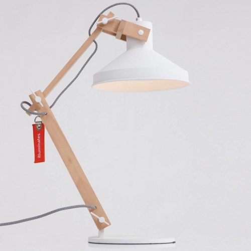 Tafellamp 1-lichts Hout E27 ANNE LIGHTING - 7866BE - Tafellamp- Bureaulamp- Anne Lighting- Woody- Scandinavisch - Trendy- Wit Bruin Houten lamp met witte accenten- Metaal Hout