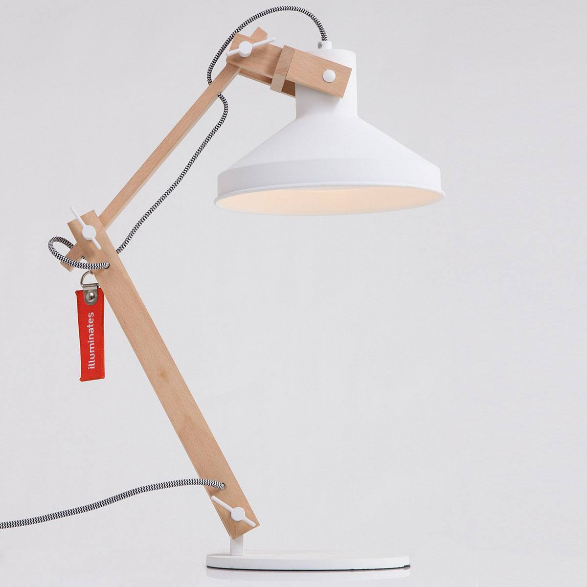 Tafellamp 1-lichts Hout E27 ANNE LIGHTING - 7866BE - Tafellamp- Bureaulamp- Anne Lighting- Woody- Scandinavisch - Trendy- Wit Bruin Houten lamp met witte accenten- Metaal Hout